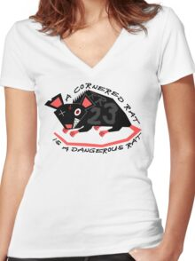 Ratty Rage Rot Women's Fitted V-Neck T-Shirt