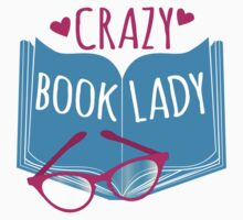 Crazy Book Lady with a pair of glasses and a book in blue One Piece - Short Sleeve