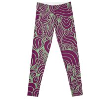 ACID PEACOCK Mardi Gras: Red Violet/Light Green Line Design Leggings Leggings