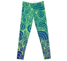 ACID PEACOCK True Peacock: Purple Teal Gradient/Lime Green Line Design Leggings Leggings