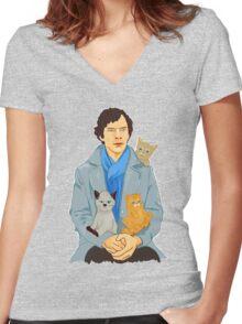 Sherlock and kittens Women's Fitted V-Neck T-Shirt