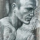 Portrait of Steven  : charcoal and pastel and conte pencil drawing by Roz McQuillan