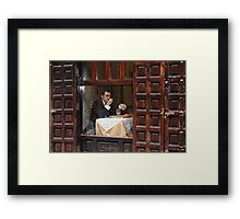 Memories of Spain 3 - Lonely Man Dinner in Madrid's Latin Quarter Framed Print