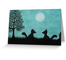 Foxes Silhouettes, Fox Art, Two Foxes with Moon and Tree Greeting Card