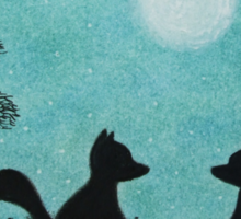 Foxes Silhouette with Tree and Moon Sticker