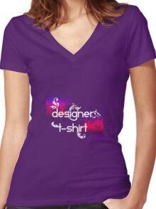 Designer T-Shirt Women's Fitted V-Neck T-Shirt