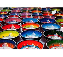 Coloured Bowls Photographic Print