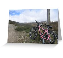 bikes on a mountain Greeting Card