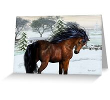Winters Day .. a stallion in the snow Greeting Card