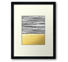 Blaire - Brushed Gold Stripes - black and gold, gold trend, gold phone case, gold cell case Framed Print