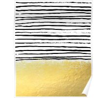 Blaire - Brushed Gold Stripes - black and gold, gold trend, gold phone case, gold cell case Poster