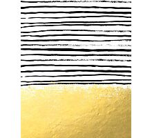 Blaire - Brushed Gold Stripes - black and gold, gold trend, gold phone case, gold cell case Photographic Print