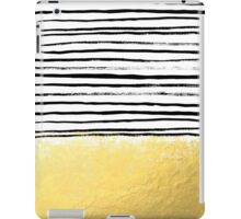 Blaire - Brushed Gold Stripes - black and gold, gold trend, gold phone case, gold cell case iPad Case/Skin