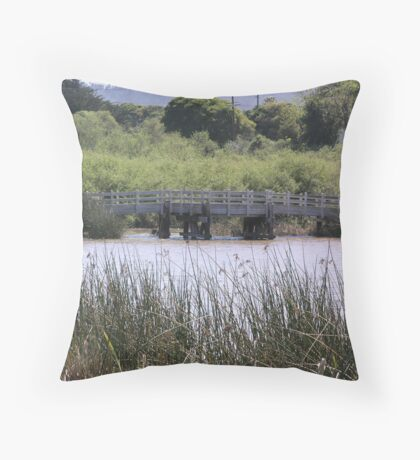 Laguna Grande Park Lake Bridge Throw Pillow