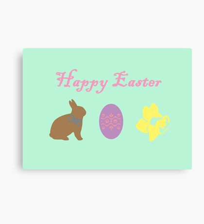 Bunny, Egg and Daffodil: Easter Line Canvas Print