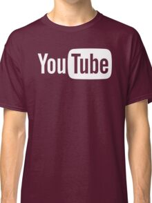 YouTube Full Logo - Full White on Black Classic T-Shirt