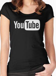 YouTube Full Logo - Full White on Black Women's Fitted Scoop T-Shirt