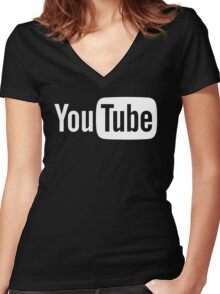 YouTube Full Logo - Full White on Black Women's Fitted V-Neck T-Shirt