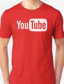 YouTube Full Logo - Full White on Black Unisex T-Shirt