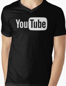 YouTube Full Logo - Full White on Black Mens V-Neck T-Shirt