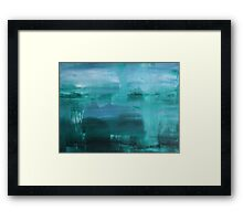 Through the Veil - Abstract Ocean Turquoise Blue Framed Print