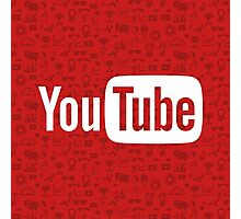YouTube Full Logo - Full White on Pattern Red Photographic Print