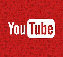 YouTube Full Logo - Full White on Pattern Red by pulse8