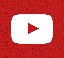 YouTube Play Logo - Full White on Pattern Red by pulse8