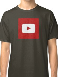 YouTube Play Logo - Full White on Pattern Red Classic T-Shirt