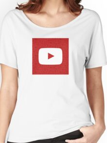 YouTube Play Logo - Full White on Pattern Red Women's Relaxed Fit T-Shirt