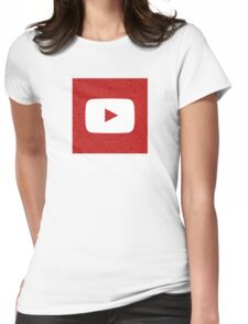 YouTube Play Logo - Full White on Pattern Red Womens Fitted T-Shirt