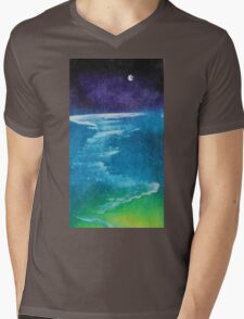 Night Seascape Mens V-Neck T-Shirt