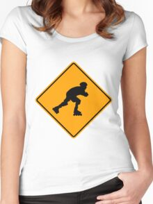 Inline Skater Yellow Diamond Warning Sign Women's Fitted Scoop T-Shirt