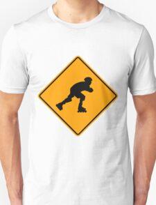 Inline Skater Yellow Diamond Warning Sign T-Shirt