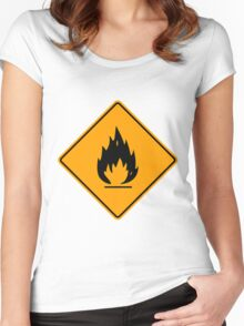Flammable Yellow Diamond Warning Sign Die Cut Sticker Women's Fitted Scoop T-Shirt