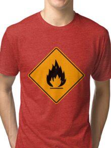 Flammable Yellow Diamond Warning Sign Die Cut Sticker Tri-blend T-Shirt