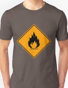 Flammable Yellow Diamond Warning Sign Die Cut Sticker Unisex T-Shirt