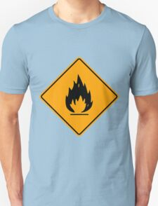 Flammable Yellow Diamond Warning Sign Die Cut Sticker T-Shirt