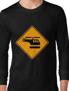 Helicopter Yellow Diamond Warning Sign Long Sleeve T-Shirt