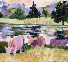 Basic Cows at Pond by JKHowsarePearl