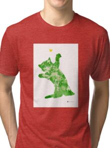 Little cat playing watercolor art print painting Tri-blend T-Shirt