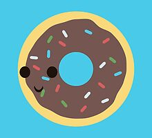 Cute Chocolate Glazed donut with sprinkles by Eggtooth