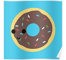 Cute Chocolate Glazed donut with sprinkles Poster