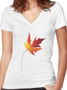 october leaf Women's Fitted V-Neck T-Shirt