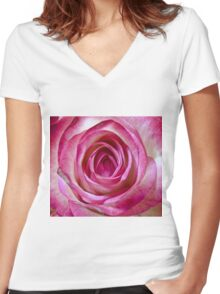 Pink rose close up Women's Fitted V-Neck T-Shirt