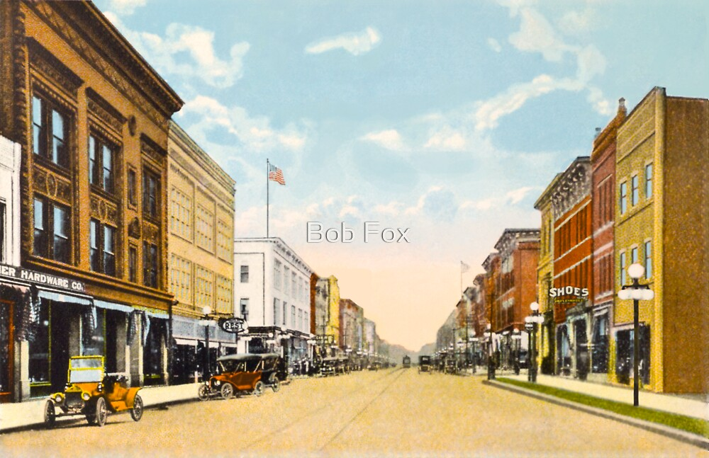 Downtown Ann Arbor, MI Main Street at Liberty, 1910 by Bob Fox