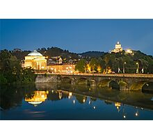 Turin (Torino), river Po, Grand Madre and Cappuccini Photographic Print