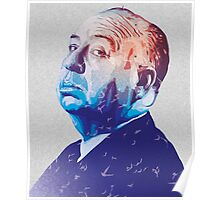 Alfred Hitchcock Blue Portrait Poster