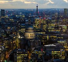 London, St Paul Cathedral and skyline at night by MarcoSaracco
