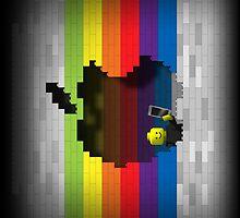 Rainbow Blocks Retro Apple Logo iPad Case by abinning